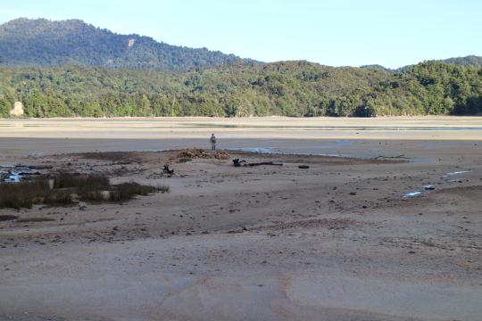 Awaroa crossing. It's easy at low tide