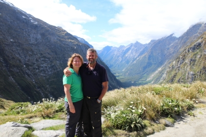 Michelle and Rob, Milford Track, MacKinnon Pass looking back to Clinton Canyon