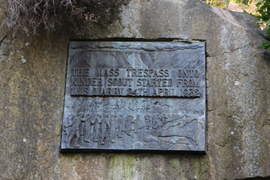 KInder Scout Mass Trespass plaque at Bowden Bridge.