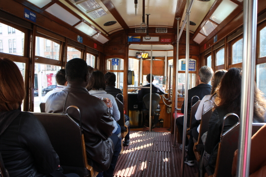 The inside view of Lisbon tram 28