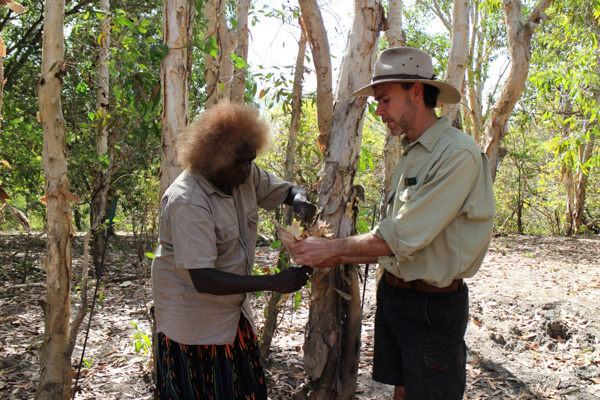 Patsy demonstrating some bush tucker techniques.